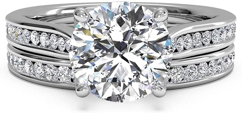 Pophylis 2.4ct Round Engagement Wedding Ring Set for Women 18K Gold Plated Sterling Silver Bridal Set Size 5/6/7/8/9/10/11