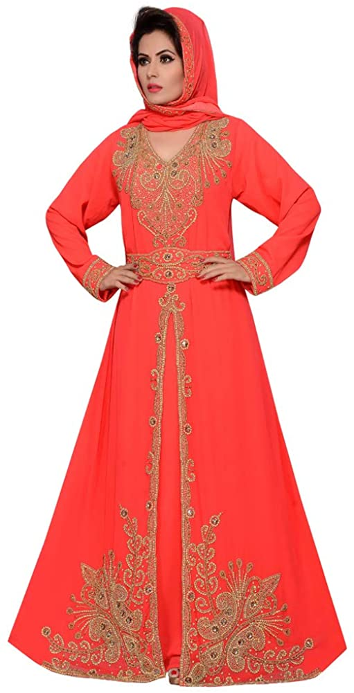 Womens Floor Length Maxi red Caftan Designer with Party Look with Hijab