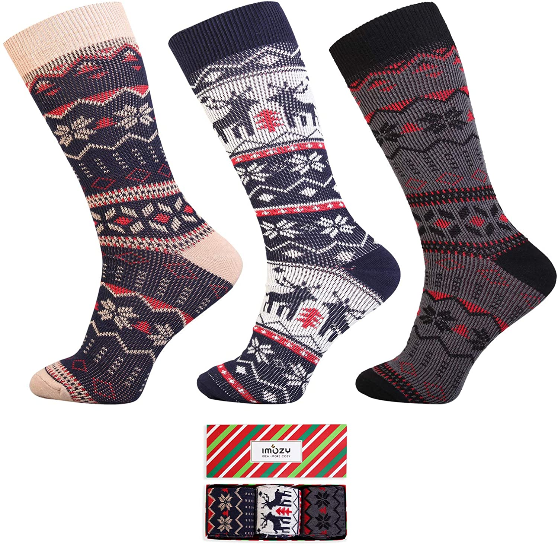 IMOZY Christmas Socks for Women- Cotton Crew Socks- Fashion Novelty Socks Pack in 4-6 Pairs