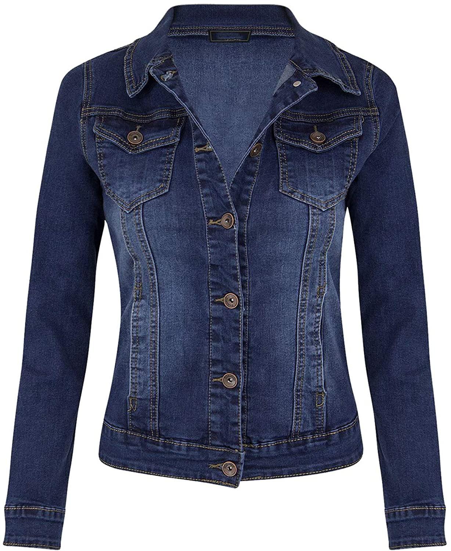 Women Denim Jacket Button Down Lapel Stretch Slim Jean Coat Tops