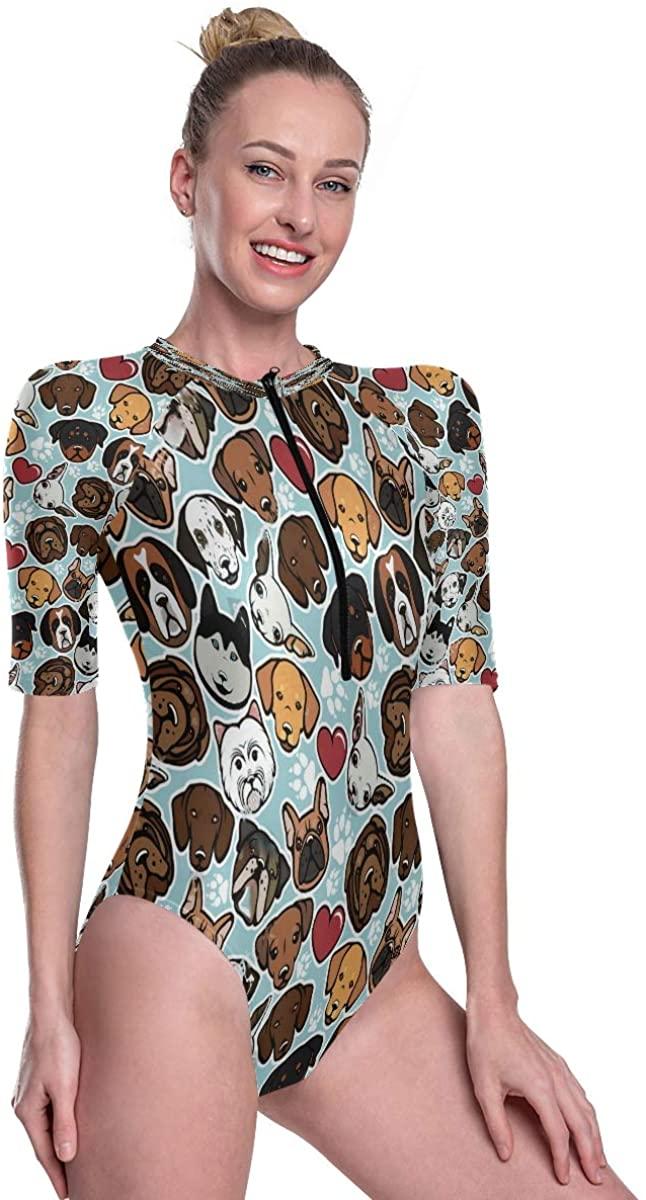 SLHFPX Womens One Piece Short Sleeve Rashguard Swimsuit Seamless Pattern with Dog Breeds Surf Swimwear