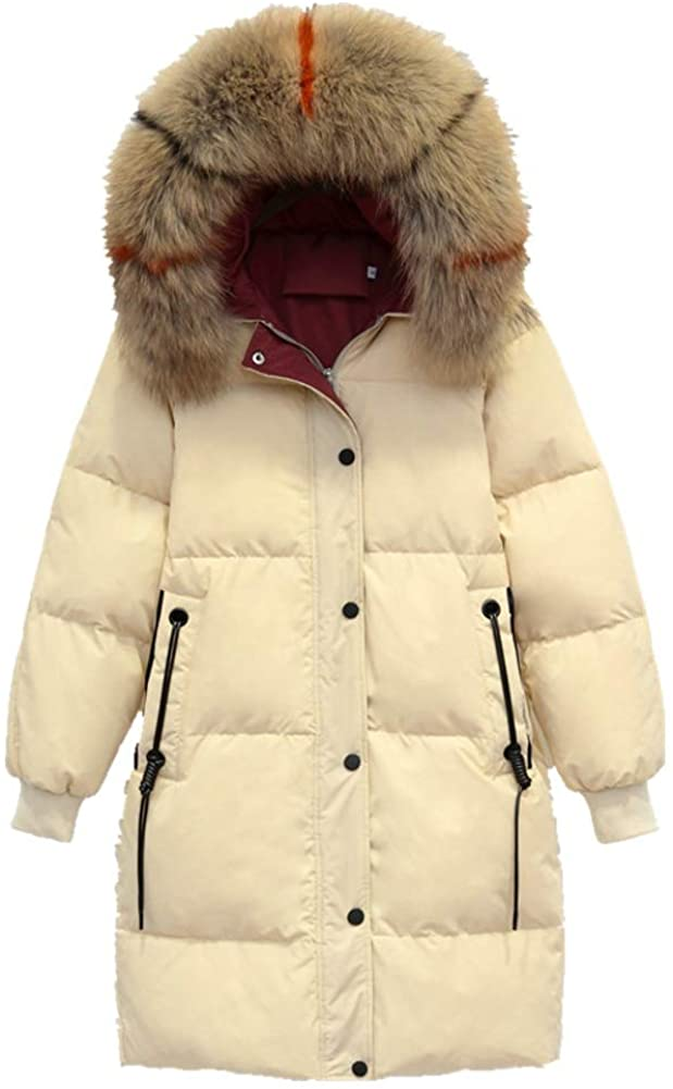 Dotoo 90% White Duck Down Winter Long Ladies Down Jacket Hooded Thick Loose Fur Collar