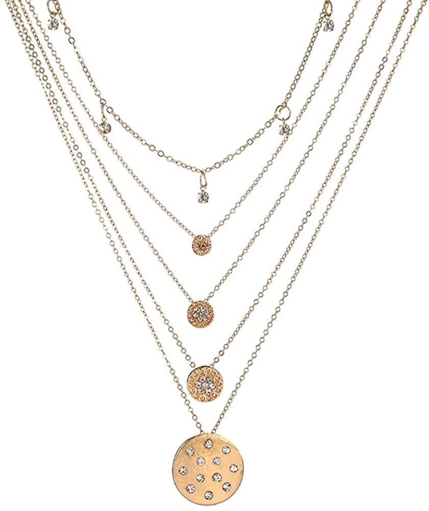 Cren Dainty Layered Choker Necklace Rhinestone Round Pendant Chain Necklaces for Women Girls