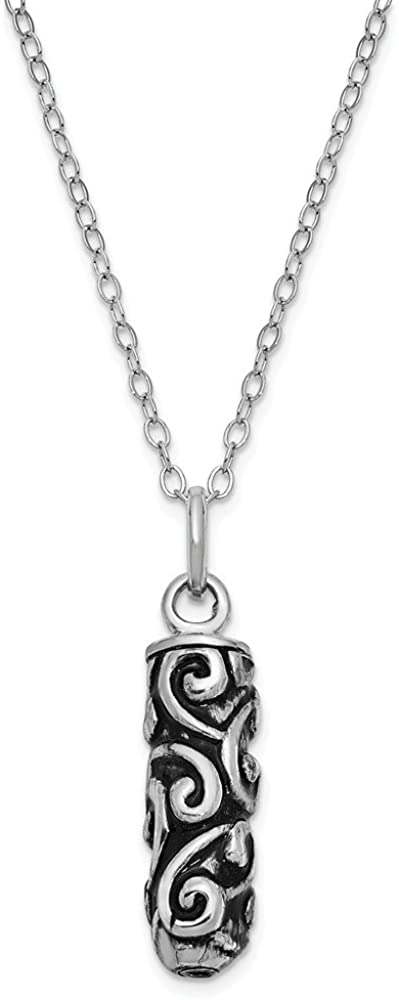 Solid 925 Sterling Silver Antiqued-Style Cylinder Remembrance Ash Holder 18in Necklace Chain 18