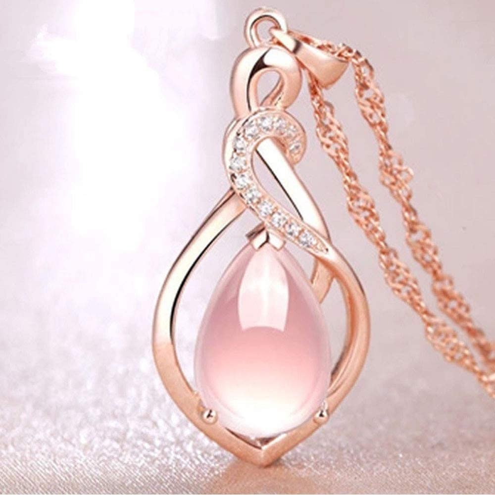 XINRONG Women's Y-Necklaces, Cute Star Sun Necklace Pendant Rose Quart Crystal Water Drop Y Shape Necklace Chain Jewelry for Women and Girls