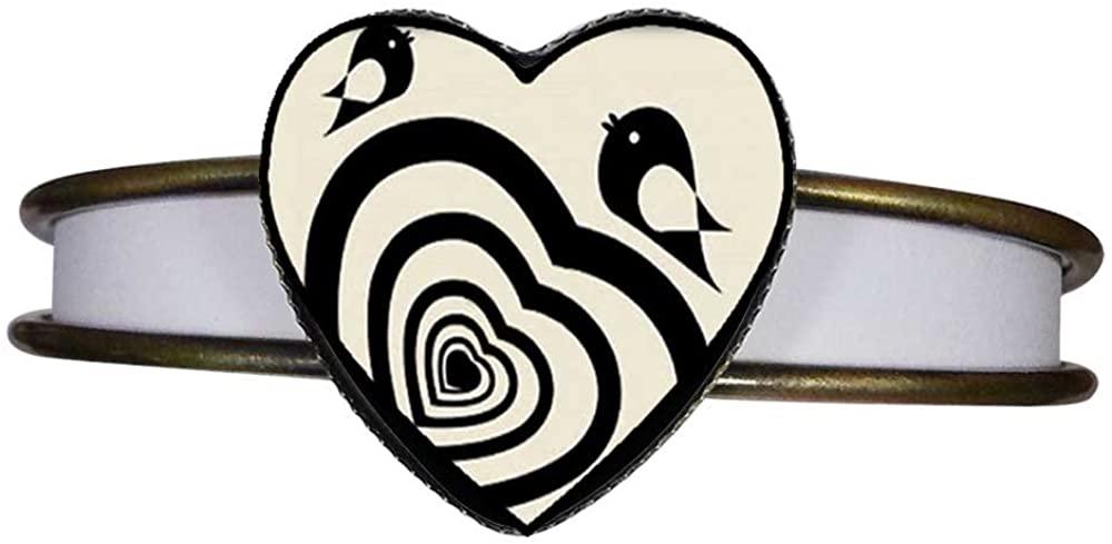 GiftJewelryShop Bronze Retro Style Sweet Heart and Cute Birds Heart Cuff Bangle Bracelet Fashion Jewelry