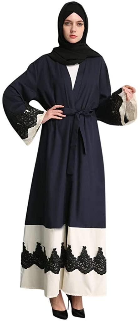 VOYOAO Muslim Dress Women Patchwork Lace Stitching Cardigan Robe (No Headscarf)