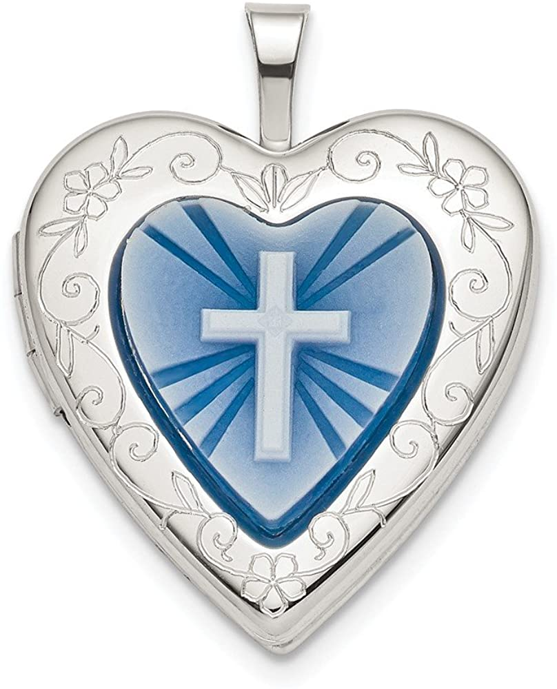 925 Sterling Silver 20mm Blue Resin Cross Religious Cameo Heart Photo Pendant Charm Locket Chain Necklace That Holds Pictures Fine Jewelry For Women Gifts For Her