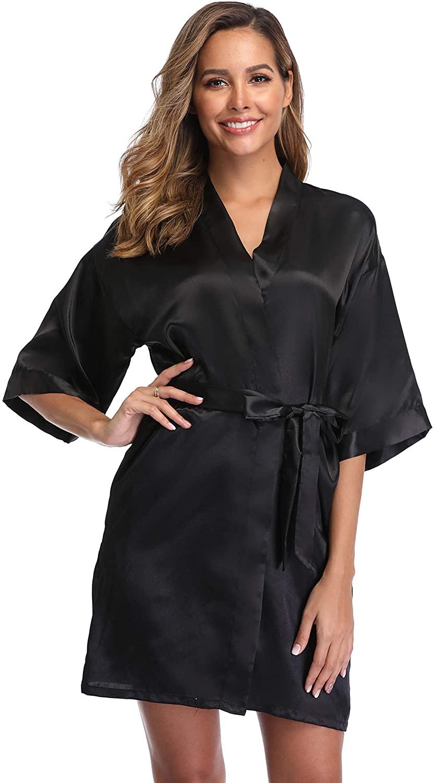 iFigure Women's Short Kimono Robe Dressing Gown Silky Bridesmaid Robes Bathrobe