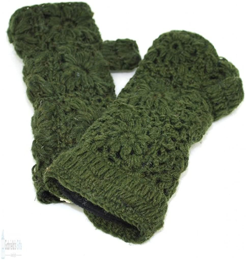 100% Wool Hand Warmers fingerless Gloves with Fleece Lining - Hand knit - Variety of Colors