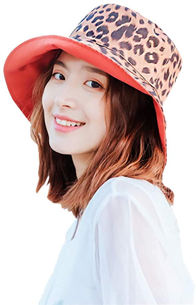 LYBAIN Leopard Print Bucket Hat Fashion Reversible Design Packable Sun Hat
