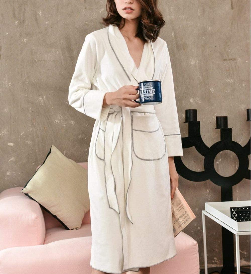 llwannr Winter Robe Women Winter Warm Robes Solid Long Nightdress Velvet with Pockets Kimono Bathrobe Gowns Lady Sexy Home Clothes Sleepwear,White,L