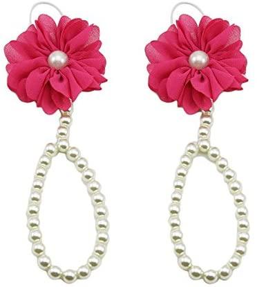 USVSU Elegant Personality Popular Women Lady Teen Girls 1Pair Pearl Chiffon Barefoot Toddler Foot Flower Beach Sandals Gift
