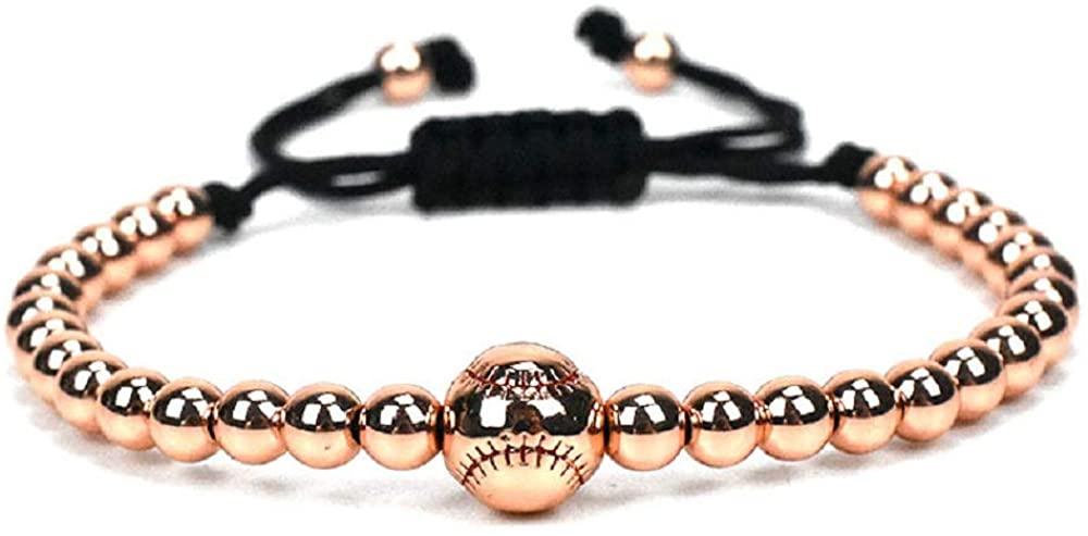 The Belcher's 10MM Baseball Strand Bracelet Copper Beaded Stretch Adjustable Rope Chain Band Bangle for Women Men Boy Unix Couple Sport Jewelry