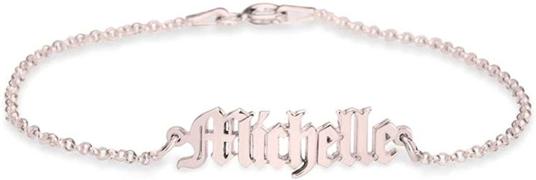Lovefir Personalized Noble Bracelet 925 Sterling Silver Initial Name Adjustable Bracelet for Women and Girls