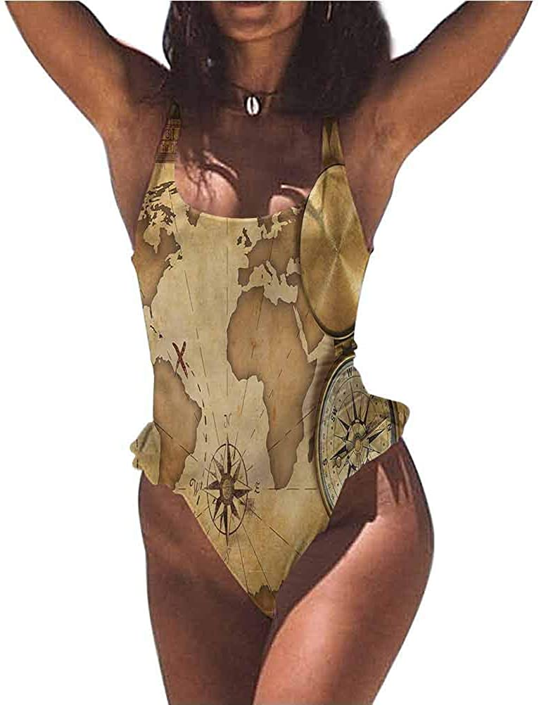 Swimsuits Map, Aged Antique Treasure Map Material is Stretchy and Sturdy