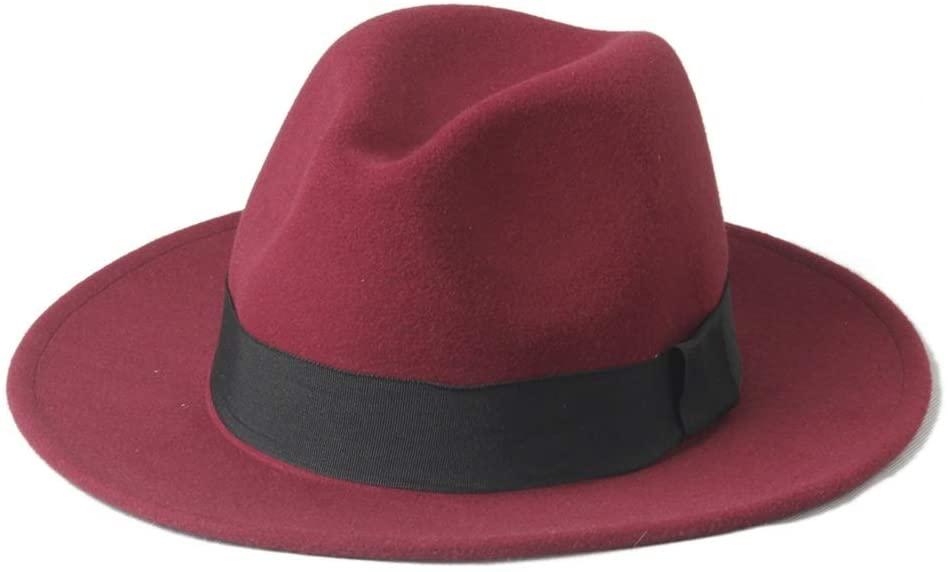 SHENLIJUAN 2019 Men Women Winter Fedora Hat with Black Cloth Belt Wide Brim Jazz Hat Outdoor Homburg Travel Hat Size 56-58CM (Color : Wine red, Size : 56-58)