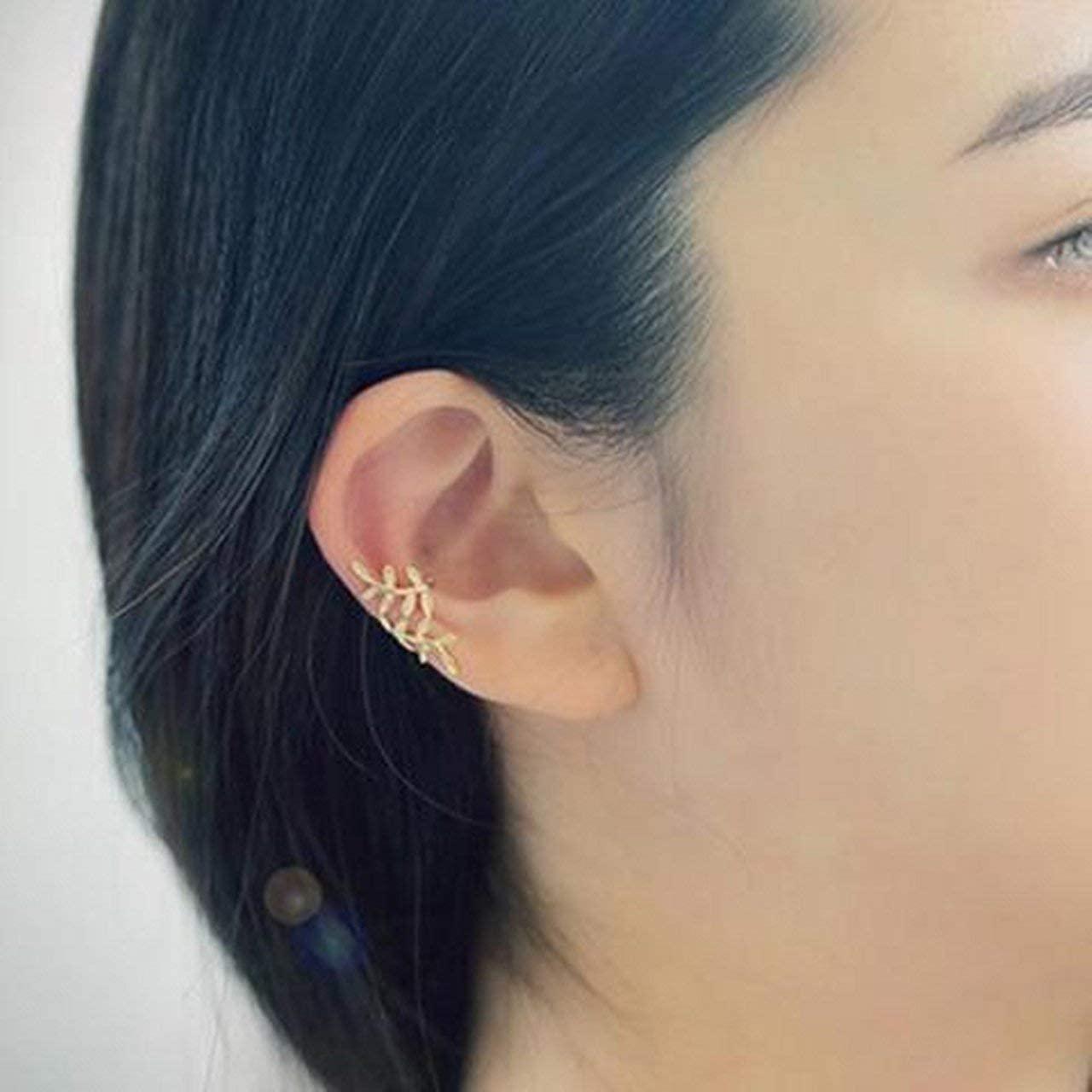 Arrixpress Crystal Leaf Ear Cuff Cartilage Wrap Clip Earring Fashion Ladies Gold Sliver