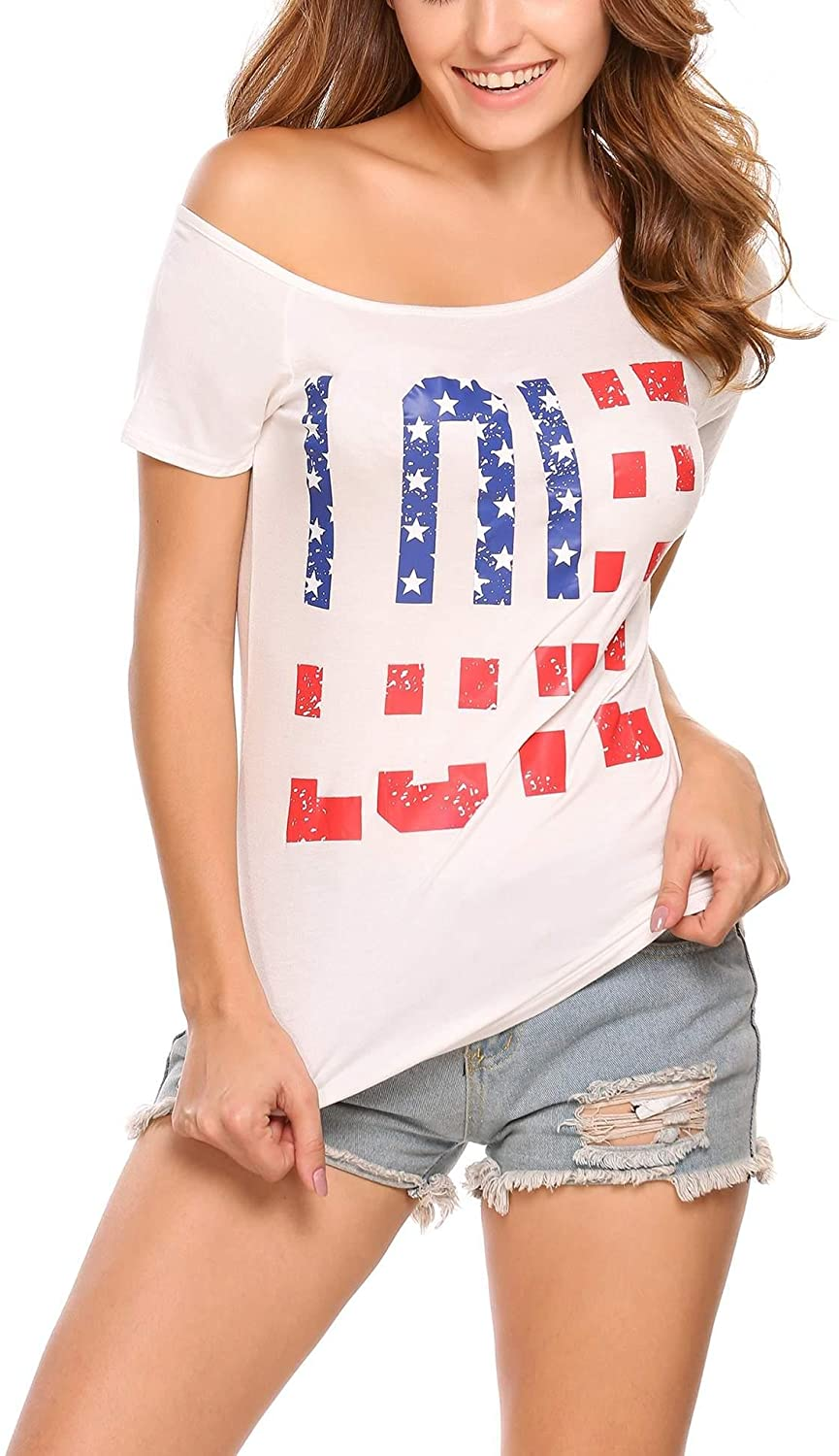EASTHER Women's American Flag Printing Short Sleeve Cold Shoulder Casual Blouse T-Shirt Tops