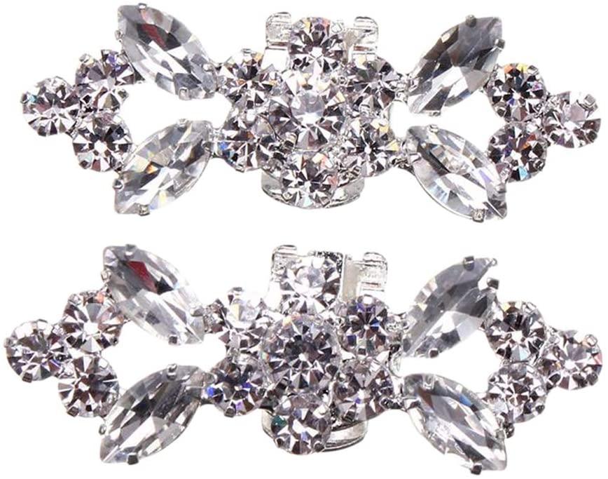 1 Pair Fashion Crystal Shoe Buckle Silver Alloy Shoe Clip DIY Shoe Decoration for Wedding Bride Women