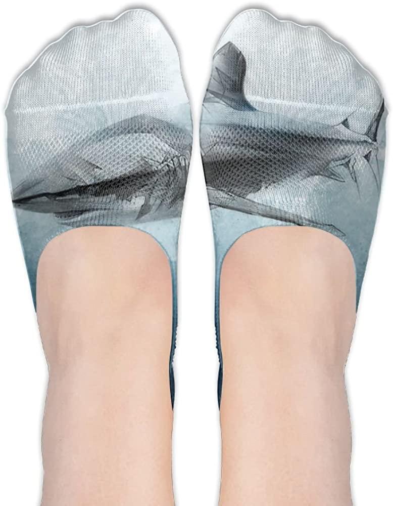 Womens Shark Casual Liner Athletic Running Socks Non Slip Flat Boat Line Girl Thin Anti-Slip 3D Printed Socks