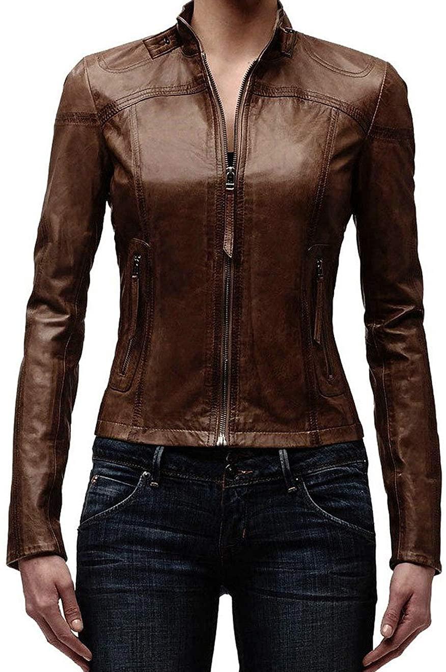 SKINOUTFIT Women's Leather Jacket Stylish Motorcycle Biker Genuine Lambskin 118