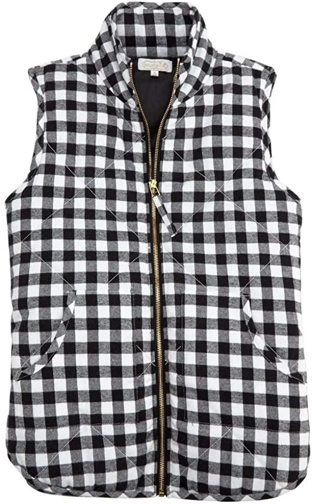 Mud Pie Black Gingham Brodie Vest in Individual Sizes