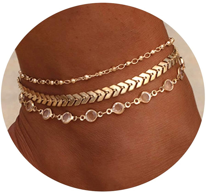CHESKY 14K Gold/Silver Plated Heart Satellite Chain Anklet Evil Eye Beaded Retangle Bar Ankle Bracelet Cuban Link Chain Crystal Leaf Anklet for Women Girls