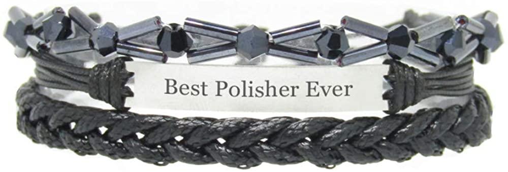 Miiras Job Handmade Bracelet for Women - Best Polisher Ever - Black 7 - Made of Braided Rope and Stainless Steel - Gift for Polisher