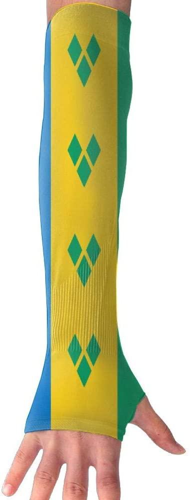 CHAN03 Anti-uv Sun Protection Saint Vincent The Grenadines Flag Gloves Long Fingerless Arm Cooling Sleeve Men Women