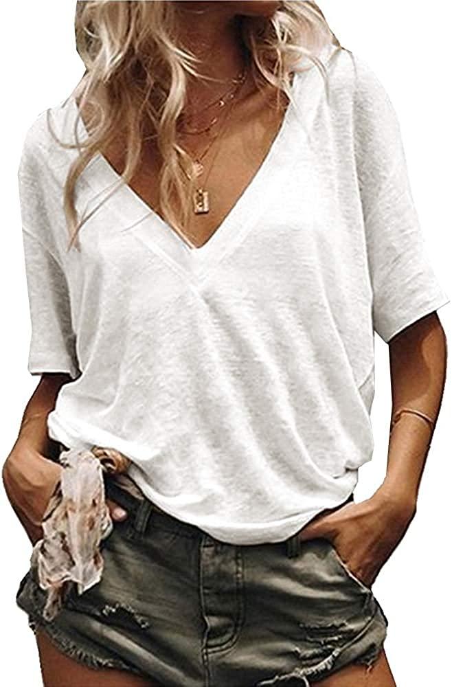Vdnerjg Women's Deep V Neck Basic T Shirts Short Sleeve Solid Color Summer Casual Loose Cotton Tees Tops