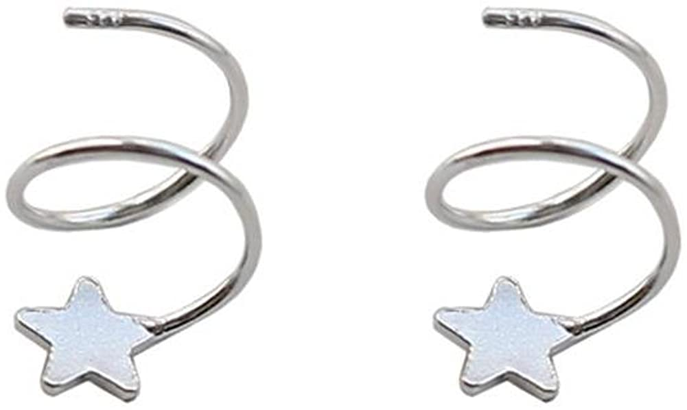 The stars rotating wave spring student circle earrings earrings wild temperament female small fresh