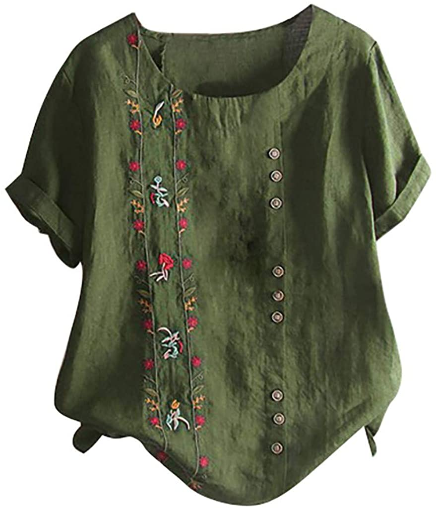 LEKODE Tops Women Floral Embroidered T-Shirt Fashion Leisure O-Neck Tee