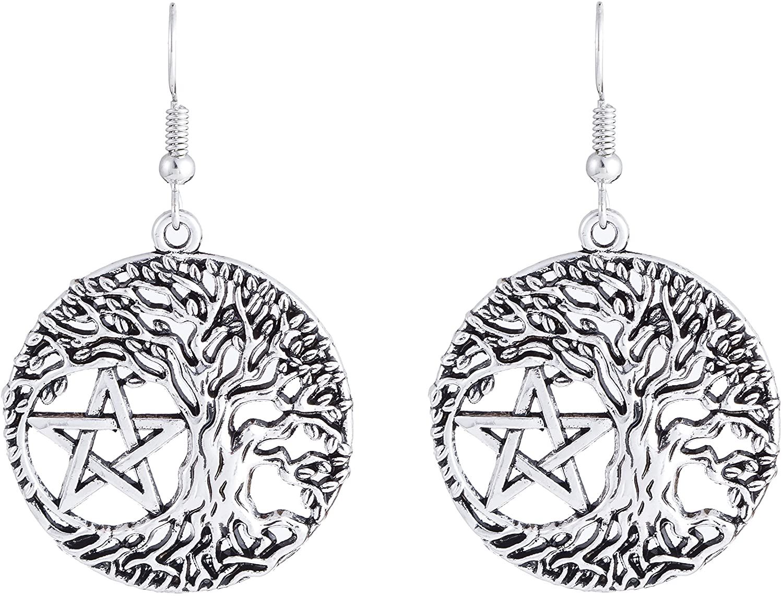 fishhook Pentagram Earrings Vintage Circle Earrings Wicca Religious Tree of Life Pendant Dangle Drop Earrings for Women Mom Sister Grandma Lover
