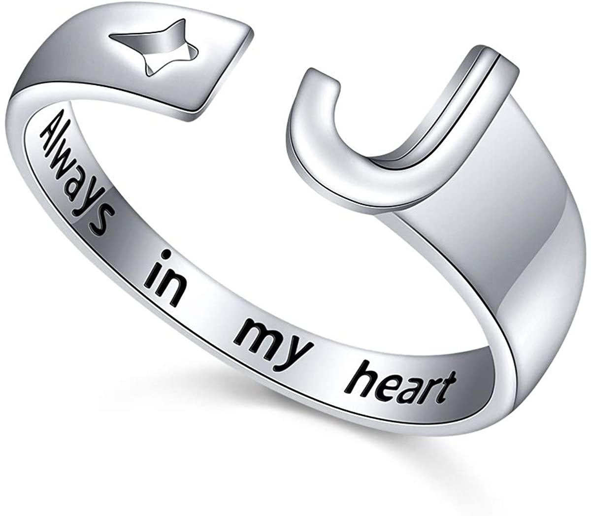 FLYOW 925 Sterling Silver Stacking Initial Letter and Lucky Star Ring Alphabet Adjustable Open Rings Engraved Always in My Heart, Great Gift for Women Teens