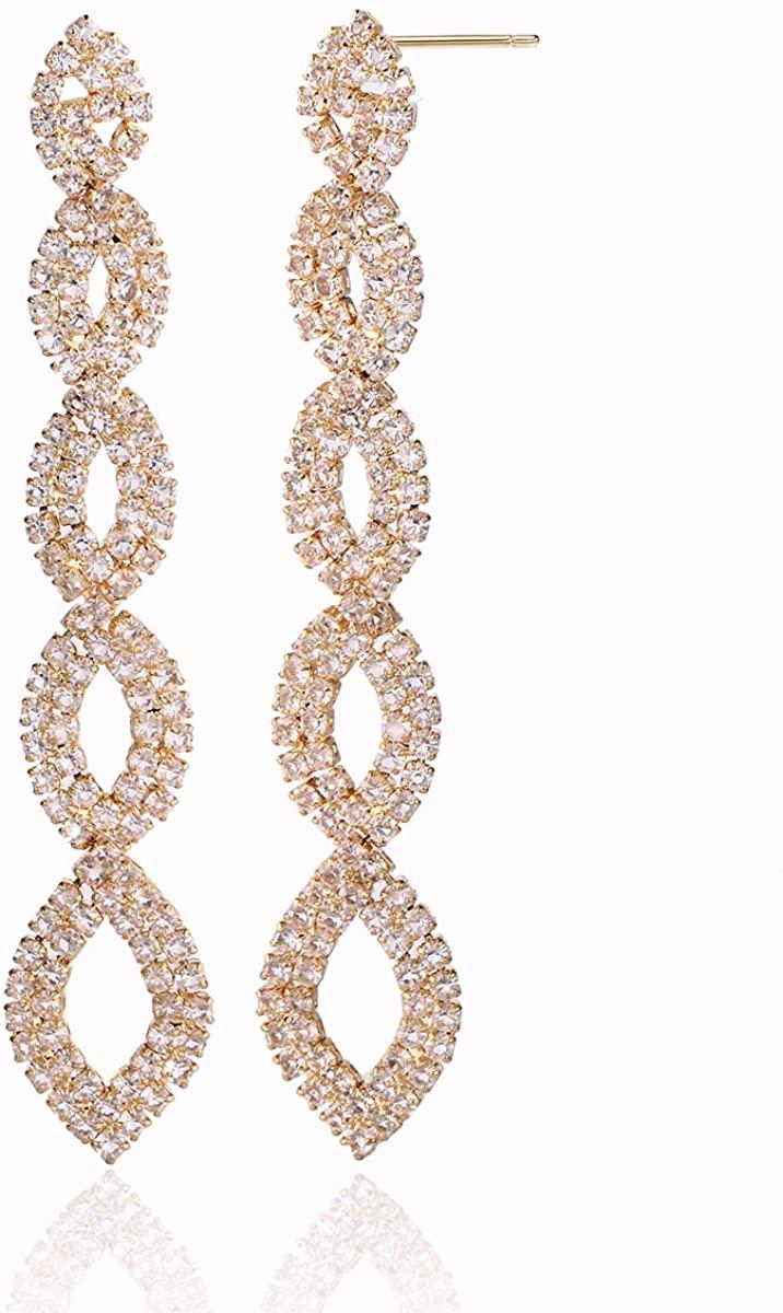 Long Rhinestone Dangle Earrings - Chic Bohemain Statement Sparkling Fringe Chain Crystal Chandelier Drop Earrings for Party Prom Wedding Gala Costume Earring