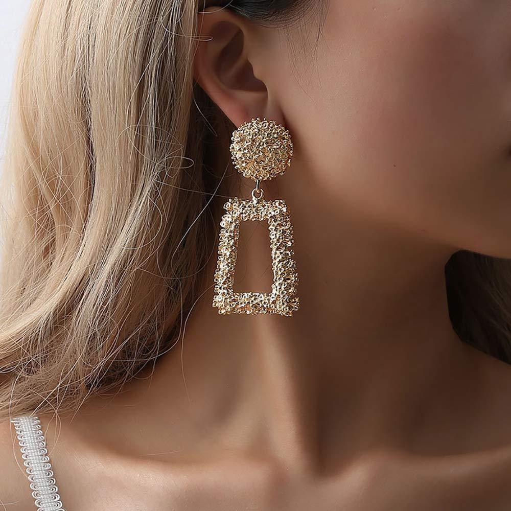 Doubnine Rectangle Geometric Metallic Earrings Indiana Boho Dangle Modern Earrings Wedding Bridal Jewelry for Women