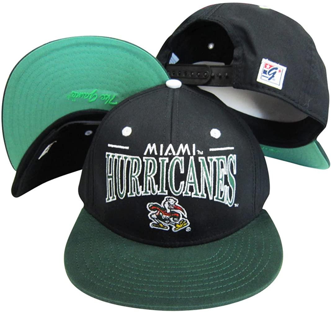 Miami Hurricanses Black/Green Snapback Adjustable Plastic Snap Back Hat/Cap