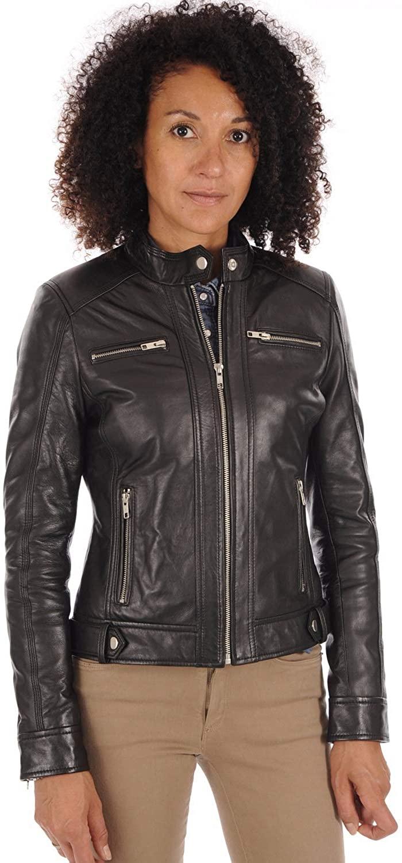 Women Stylish Genuine Lambskin Motorcycle Biker Leather Jacket WJ 55