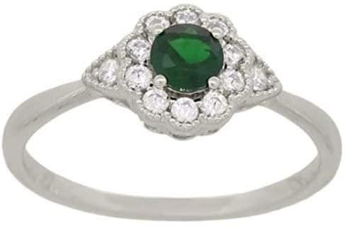 .44CT DIAMOND & AAA TSAVORITE 14KT WHITE GOLD 3D FLOWER TRIANGULAR PROMISE RING