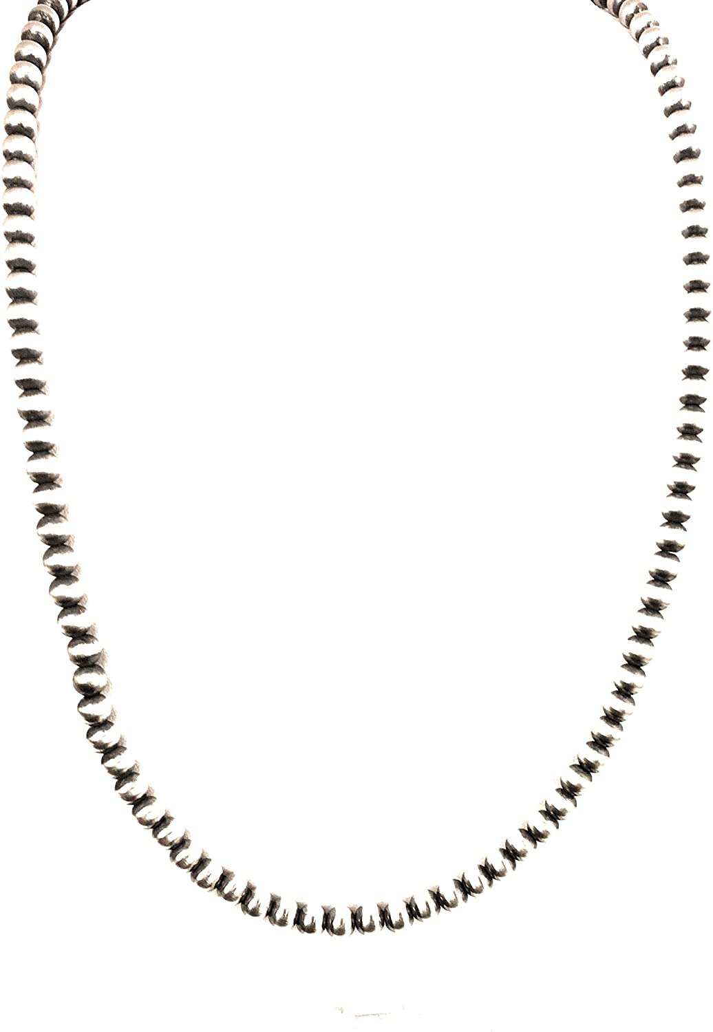 Southwestern Navajo Pearls 6mm Sterling Silver Bead Necklace 24