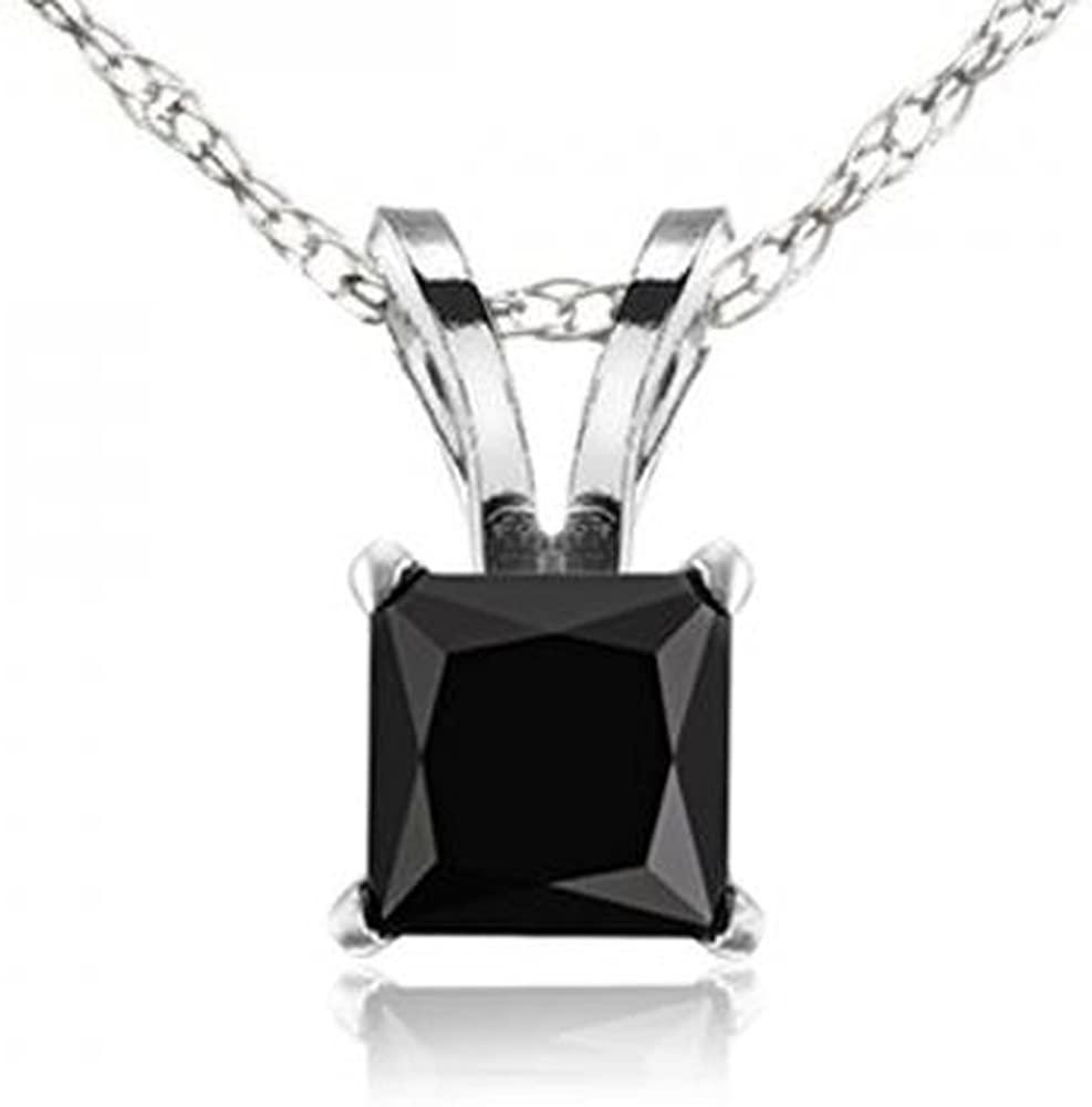 Dazzlingrock Collection 14K Gold Princess Cut Black Diamond Ladies Solitaire Pendant