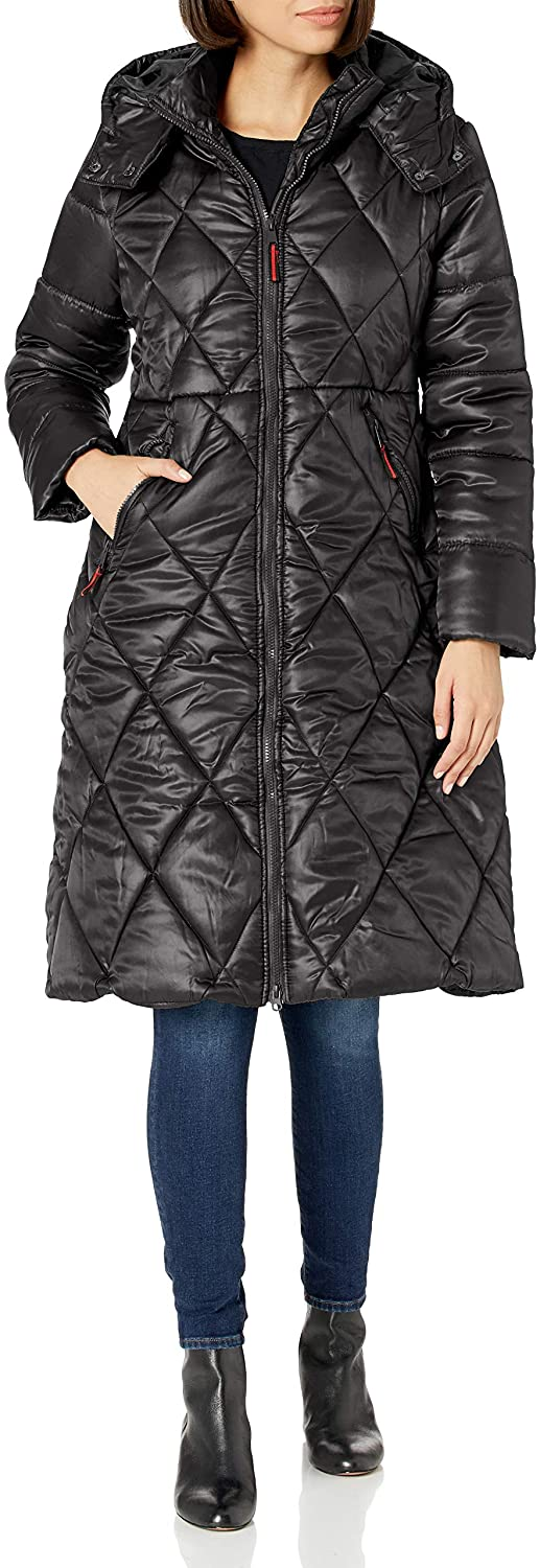 Urban Republic Womens Juniors Puffer Poly Polyfill Jacket, Black, 3X