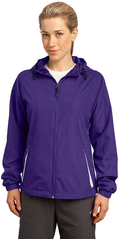 Sport Tek Ladies Colorblock Hooded Raglan Jacket. LST76
