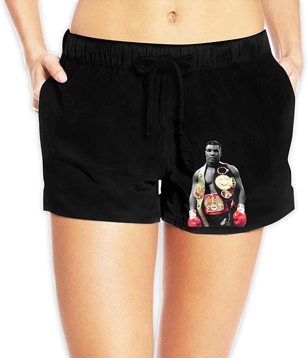 Hangquq Ladiesmike Tyson Printed Bouquet with Waist Beach Shorts.