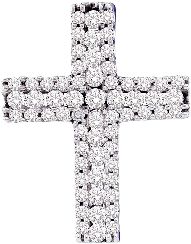 Dazzlingrock Collection 0.5 Carat (ctw) 1/2 Ct-Diamond Cross Pendant, 14K White Gold
