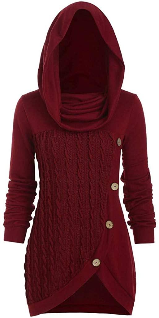 ESKNAS Women Sweatshirts Plus Size Hoodies Knitwear Solid Color Jumpers Irregular Knitted Sweater