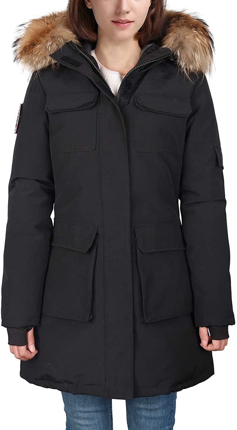 HARD LAND Women's Goose Down Parka Jacket Waterproof Winter Coat Mid Length Arctic Military with Fur Hood