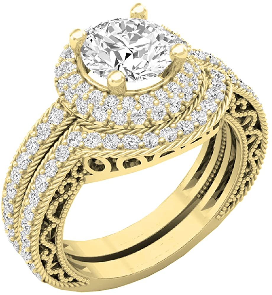 Dazzlingrock Collection 4.40 CT 14K Gold Halo Round Cubic Zirconia CZ Wedding Bridal Engagement Ring Set