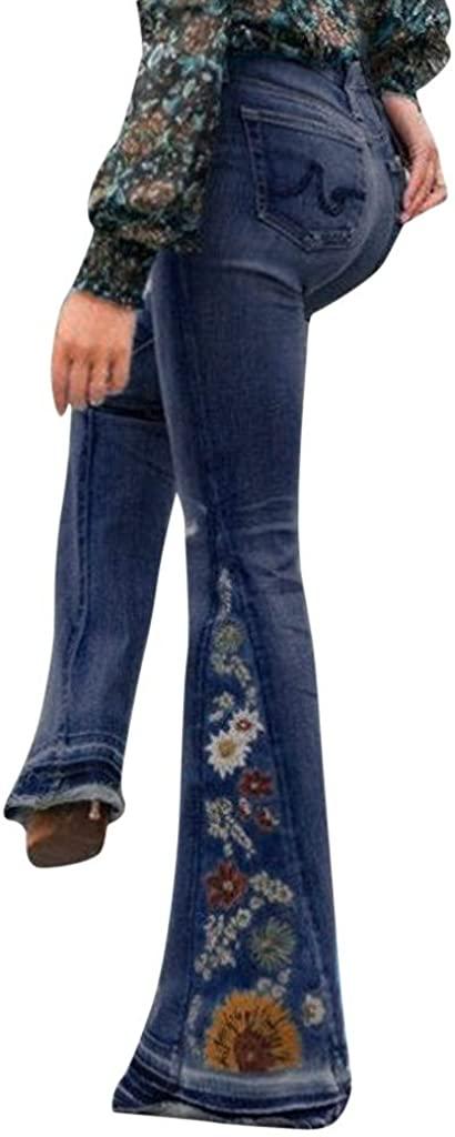 MoonHome Women Destoryed Flare Jeans Elastic High Waist Big Bell Bottom Raw Hem Fitted Flared Denim Embroidery Pants